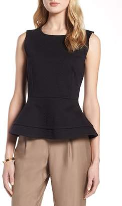 Halogen Textured Sleeveless Peplum Blouse