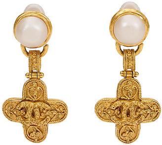 Chanel Maltese Cross Drop Earrings