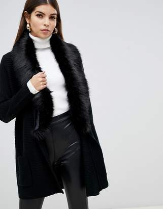 Lipsy heavy cardigan with faux fur collar in black