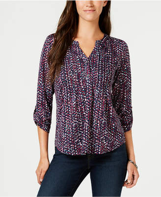 NY Collection Petite Printed Henley Top