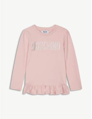 Moschino Crystal logo cotton T-shirt 4-14 years