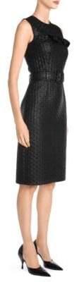 Prada Women's Sleeveless Cloque Belted Sheath Dress - Black - Size 40 (4)