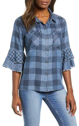 BILLY T Ruffle Plaid Shirt