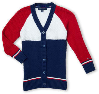 Tommy Hilfiger Girls 7-16) Long Sleeve Color Block Cardigan