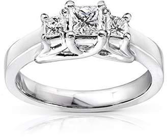 JeenJewels 1.17 Carat Three Stone Cheap Diamond Ring with Princess cut Diamond on 18K White gold
