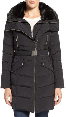 Women's French Connection Down Coat With Faux Fur Trim $270 thestylecure.com