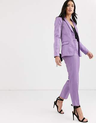 Fashion Union tailored pants coord with pleat detail in metallic jacquard