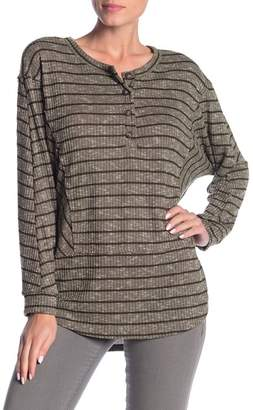 Lush Striped Thermal Knit Tunic Top