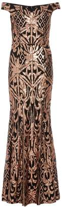 Quiz Black And Rose Gold Sequin Bardot Maxi Dress