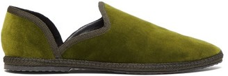 The Row Friulane D'orsay Velvet Flats - Womens - Khaki