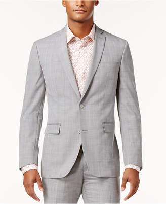Bar III Men's Slim-Fit Light Gray Plaid Suit Jacket, Only at Macy's $425 thestylecure.com