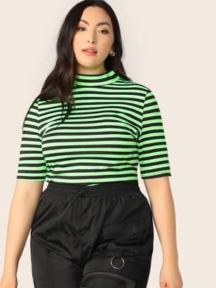 9f57a715 Shein Plus Mock Neck Neon Green Striped Top