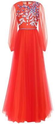 Carolina Herrera Embellished Gathered Tulle Gown