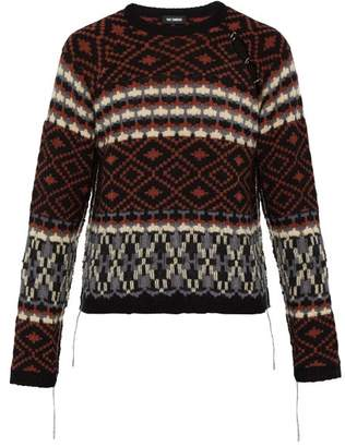 a20e36be1ce014 Raf Simons Deconstructed Sleeve Fair Isle Sweater - Mens - Black