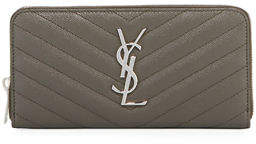 Saint Laurent Monogram Quilted Leather Zip-Around Wallet