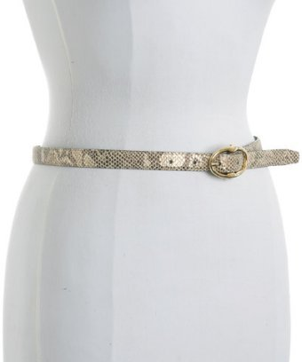 Beltworks gold snake print leather skinny belt
