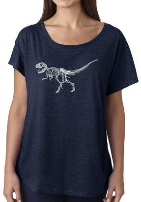 LOS ANGELES POP ART Los Angeles Pop Art Women's Loose Fit Dolman Cut Word Art Shirt - Dinosaur T-Rex Skeleton