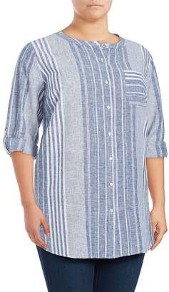 Vince Camuto Women's Striped Long-Sleeve Linen-Blend Top - Ultra White, Size 1x (14-16)