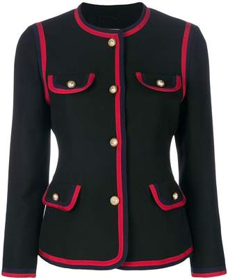 Gucci contrast piping fitted blazer