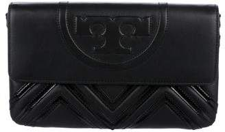 Tory Burch Patent Leather-Accented Clutch