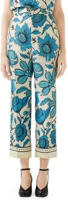 Gucci Watercolor Floral Print Silk Twill Pants