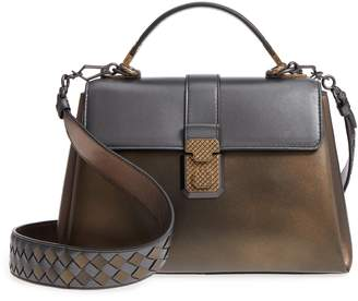 Bottega Veneta Small Piazza Tricolor Metallic Leather Handbag
