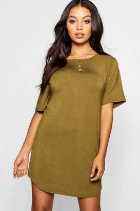 boohoo Petite Curved Hem T-Shirt Dress