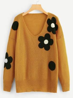 Shein Plus Flower Applique Loose Knit Sweater