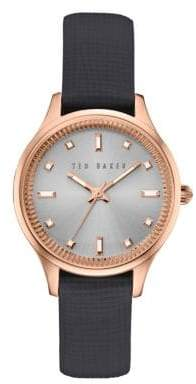 Ted Baker Zoe Round Leather Strap Analog Watch