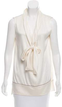 Louis Vuitton Sash-Tie Accented V-Neck Top