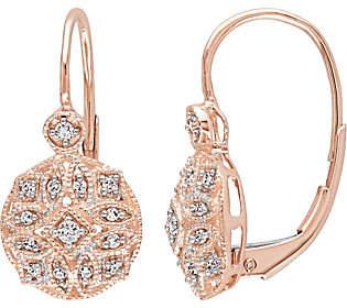 Affinity Diamond Jewelry Diamond Filigree Earrings, 14K Rose Gold, 1/8 c
