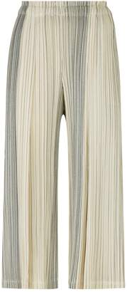 Pleats Please Striped Wide Leg Trousers