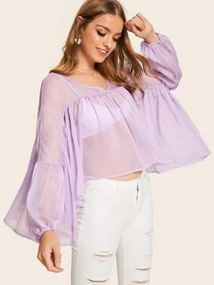 Shein Batwing Sleeve Sheer Flowy Smock Top Without Bra