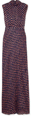 Saloni Fleur Fil Coupé Silk-blend Chiffon Maxi Dress - Navy
