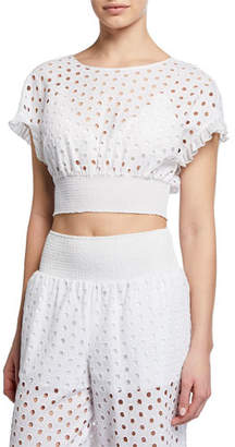 Kisuii Zoie Eyelet-Embroidered Coverup Crop Top