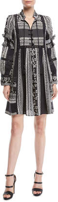 Sea Keely Tie-Neck Long-Sleeve Mixed-Print Peasant Tunic Dress