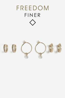 Topshop Rhinestone Hoop Earrings Pack