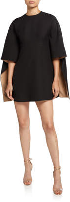 Valentino Kimono-Sleeve Two-Tone Mini Dress