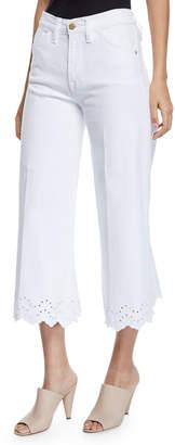 Frame Schiffli Vintage High-Rise Cropped Jeans with Eyelet Hem