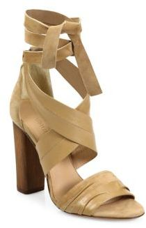 Vince Beatrice Leather & Suede Wraparound Block-Heel Sandals $395 thestylecure.com
