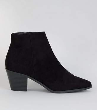 New Look Black Suedette Western Ankle Boots