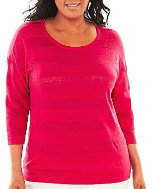 Liz Claiborne Shadow Striped Sweater - Plus