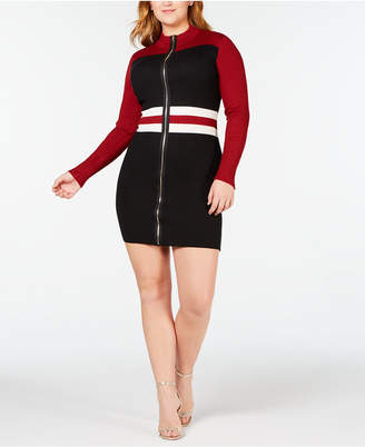 Say What Trendy Plus Size Colorblocked Faux-Zip Sweater Dress