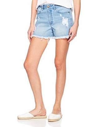 PD Peppered Denim Women's Stretch Distressed Denim Cut-Off Shorts Washed Blue