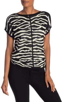 Joan Vass Short Sleeve Zebra Pullover Sweater