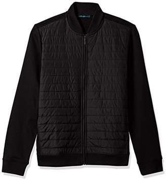 Perry Ellis Men's Quilted Mix Media Full Zip Jacket