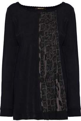 Roberto Cavalli Pleated Printed Chiffon-Paneled Knitted Sweater