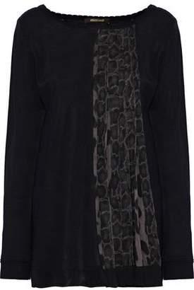 Roberto Cavalli Pleated Printed Chiffon-Paneled Knitted Sweater