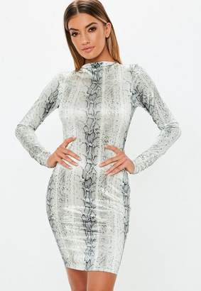55656183e34e Missguided Tall Grey High Neck Long Sleeve Snake Print Dress, Grey