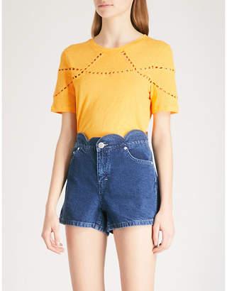 Maje Cutouts linen and cotton-blend T-shirt